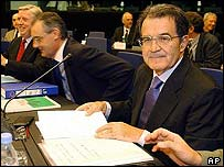 European Parliament Pat Cox, European Commission Secretary-General David O'Sullivan and President Romano Prodi