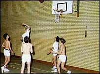 Children playing in a sports hall