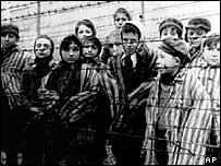 Child inmates liberated by Soviet troops from Auschwitz