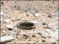 Iranian TV footage of land mine on Iran-Iraq border