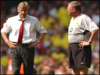 Arsene Wenger (left) and Sir Alex Ferguson locked horns in Sunday's Charity Shield