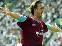 David Connolly celebrates his winner at Preston