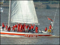 The Jersey Clipper team celebrate their victory