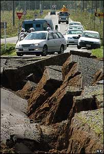 Quake damage in Hokkaido, Japan