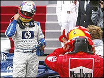 Juan Pablo Monotya celebrates winning the Monaco GP as Michael Schumacher rues third place