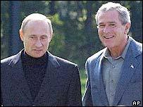 President Putin (L) and President Bush