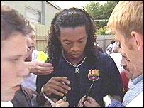 Ronaldinho signed for Barca last month