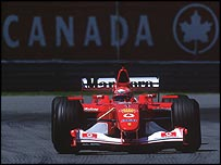 Michael Schumacher in his Marlboro-sponsored Ferrari at last year's Canadian Grand Prix