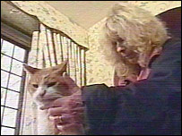 Carla Lane and a cat