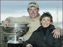 Lee Westwood and wife Laurae