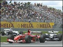 Michael Schumacher heads the Williams drivers on his way to victory in Canada