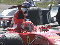 Michael Schumacher leads Juan Pablo Montoya at the Italian Grand Prix