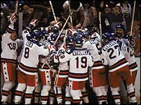 America celebrate their shock win at Lake Placid