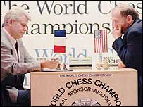 Boris Spassky (left) and Boby Fischer