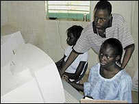 People using computers in Senegal