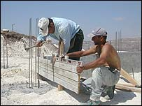 Construction work at Givat Haroeh outpost