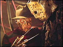 Freddy Krueger (left) and Jason Voorhees in Freddy Vs Jason