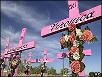 Crosses commemorates the spot where the bodies of eight young women were found in 2001 in Ciudad Juarez