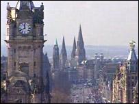 Princes Street is Edinburgh's main thoroughfare