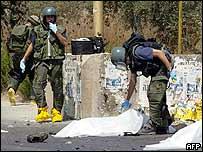 Israeli police sappers at Ariel blast scene