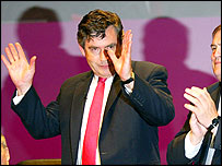 Gordon Brown acknowledges applause