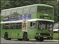 Green bus in Bristol