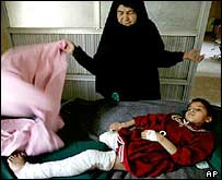 Zeinab Hazed, 9, and grandmother, in Basra General Hospital