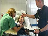 Elderly woman treated in Paris hospital