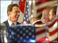 Arnold Schwarzenegger (left) and Republican party members