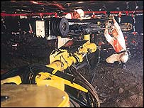 An engineer prepares for blasting in a platinum mine