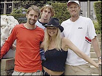 Nicolas Kiefer, Robby Ginepri, Julie McCullough and Wayne Ferreira at the Playboy Mansion