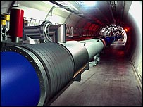 Computer-generated image of the LHC tunnel (Cern)