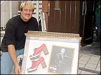 David Holle with Elton John's platform boots