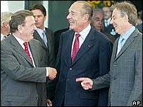 Gerhard Schroeder, Jacques Chirac and Tony Blair