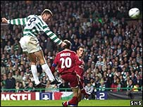 Chris Sutton powers home the second goal of the night