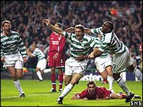 Liam Miller celebrates the opening goal for Celtic