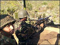 Indian troops on the Manipur-Burma border