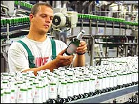Becks beer production line