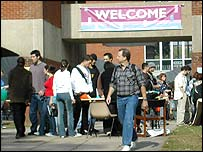 Students at Sussex University's freshers' fair