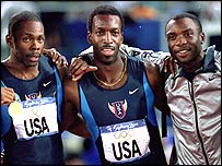 The American 400m relay team celebrate Olympic gold in 2000