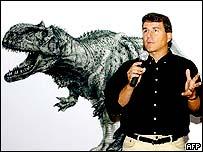 Paul Sereno y un dibujo del dinosaurio