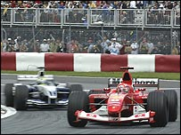 Michael Schumacher leads Ralf Schumacher during the Canadian Grand Prix