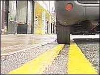 Car on yellow lines
