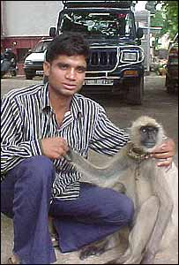 Saeed Khan and his pet langur