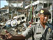 Scene after the Bali bombing