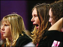 Students yawn during debate at the Labour conference