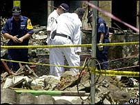 Investigators search the site of the Bali bomb