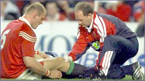 Lawrence Dallaglio injured his knee in the Lions' tour of Australia