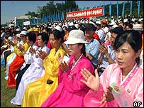 North and South Koreans in Pyongyang
