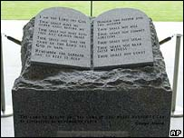 The slab of granite inscribed with the Ten Commandments which is currently installed in Alabama's Supreme Court